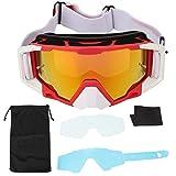 SolUptanisu Gafas de Moto,Gafas de Motocicleta de Motocross Gafas de Esquí Reemplazables Ajustables Gafas Protectoras a Prueba de Viento Gafas de Seguridad Anti UV para Hombres y Mujeres(rojo blanco)