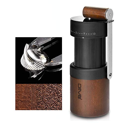 Manual Coffee Grinder, Dual Bearing Expandable Whole Bean Wood Handy Size High Quality Juglans Nigra Stainless Steel Burr 30g by Driver, Portable Travel for French Press, Spice, Herb, Pepper Mill