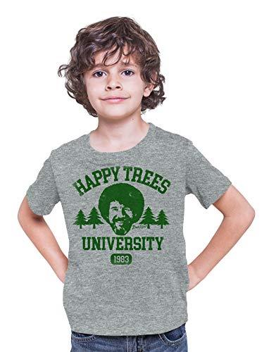 Teelocity Bob Ross Happy Trees University Youth T-Shirt (X-Large, Athletic Heather Green)