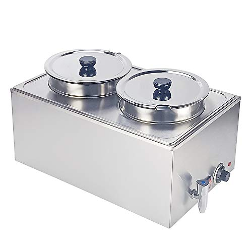 DULONG Bain Marie Electric Food Warmer Buffet Warmer Soup Warmer Stove Steam Table Stainless Steel Container Temperature Control for Catering Restaurants Commercial Grade 1200W, 2 Round Pots with Tap