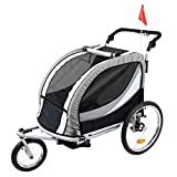 Clevr Deluxe 3-in-1 Double 2 Seat Bicycle Bike Trailer Jogger Stroller for Kids Children | Foldable w/Pivot Front Wheel,...