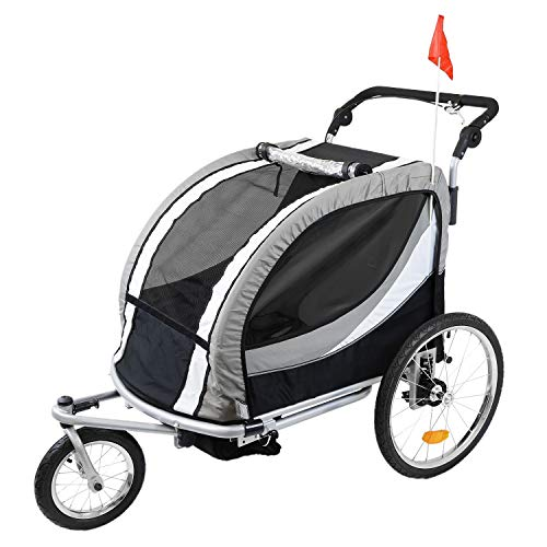 Best Prices! Clevr Deluxe 3-in-1 Double 2 Seat Bicycle Bike Trailer Jogger Stroller for Kids Children | Foldable w/Pivot Front Wheel, Grey