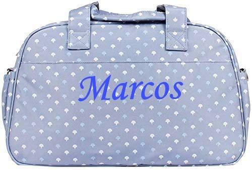 Bolso personalizado bebe carrito con nombre bordado + Regalo de un babero (Gris azul)