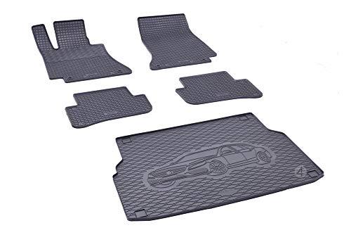 Kofferraumwanne und Gummifußmatten passgenau geeignet für Mercedes C-Klasse Kombi S205 ab 2014 Farbe Schwarz + Gurtschoner