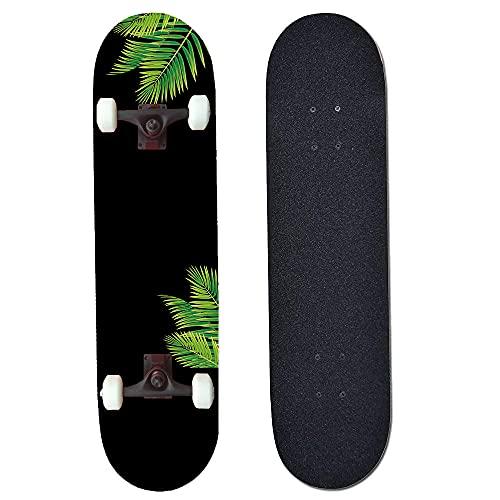 ACEMOOW Completo Skateboard, 80 x 20 cm 7 Capas Monopatín de Madera...
