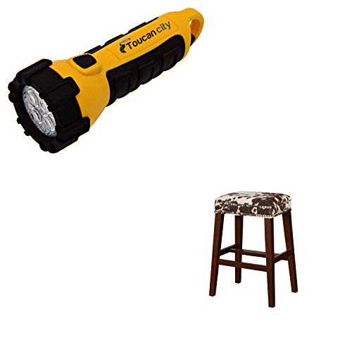 Toucan City LED Flashlight and Linon Home Decor Will 30 in. Brown Cow Print and Walnut Bar Stool THD00603