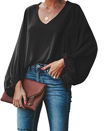BELONGSCI Women's Casual Sweet & Cute Loose Shirt Balloon Sleeve V-Neck Blouse Top Black