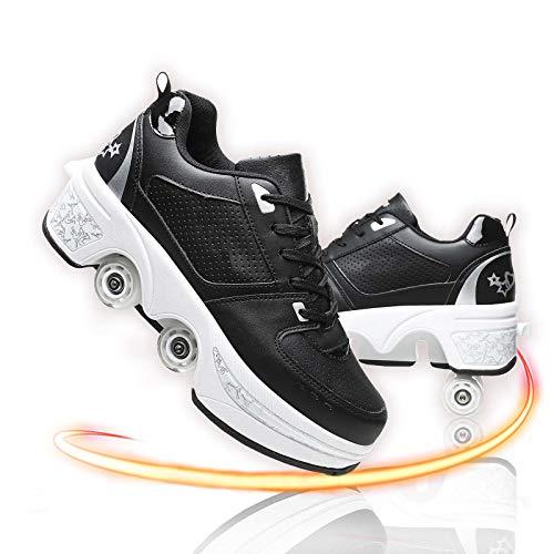 GGXINT Zapatos con Ruedas para Niños Y Niña Aire Libre Y Deporte Gimnasia Running Zapatillas Automática Calzado De Skateboarding,Black Silver,36