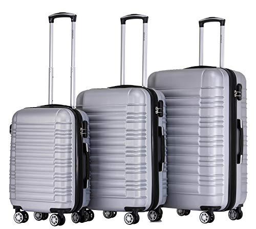 BEIBYE Hartschalen Koffer Trolley Rollkoffer Reisekoffer Zwillingsrollen Kofferset (Silber, Set)