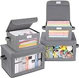 DIMJ Cajas de almacenaje, Juegos de 4 Cajas Organizadoras Plegable, Cube de...