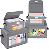 DIMJ Cajas de almacenaje Plegable, Conjunto de 4 Cajas Organizadoras Tela, Cubos...