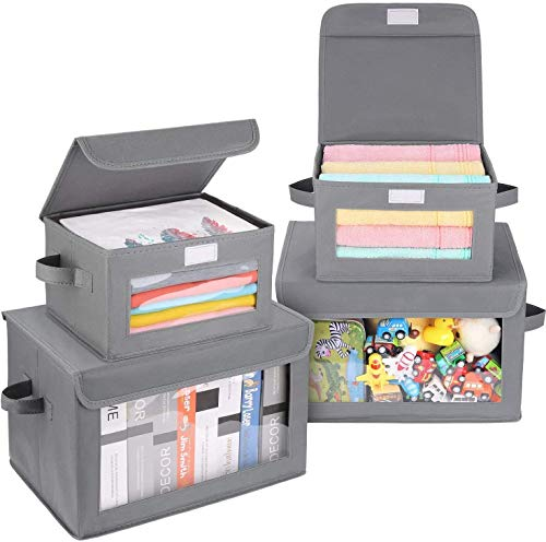 DIMJ Cajas de almacenaje Plegable, Conjunto de 4 Cajas Organizadoras Tela, Cubos de Almacenamiento con Ventana Transparente, Organizadores de Contenedore para Ropa Juguetes Libros (Transparente)