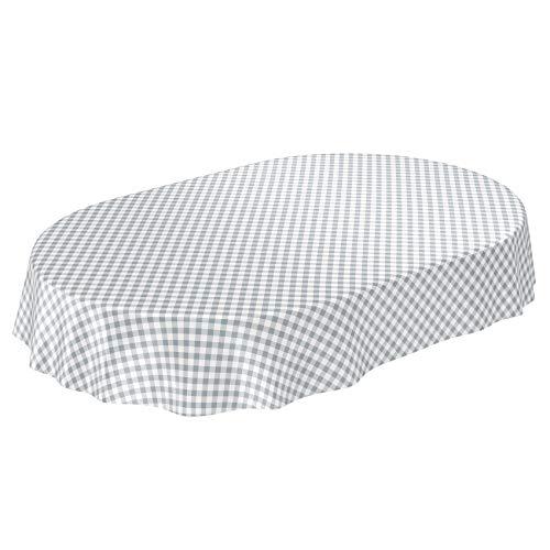ANRO Hule para Mesa (Forma Ovalada, 180 x 140 cm), diseño a Cuadros, Color Gris, Toalla, Oval 140 x 180cm