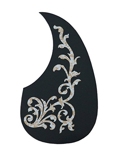 Metallor Acoustic Guitar Pickguard Anti-Scratch Guard Plate Perfect Replacement, Self Adhesive Tear or Water Drop Shape Pick Guards Various Color, Cool Guitar Accessories Gifts (Laser Flower)
