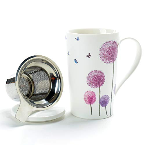 TEANAGOO Tea Cup with Filter and Lid, 18 OZ, Dandelion, M58-5 Women Infuser, Tea Mug with infuser and lid and handle Steeper Maker, lovers for Loose Leaf Tea Brewing, Diffuser/Brewer taza mug set,
