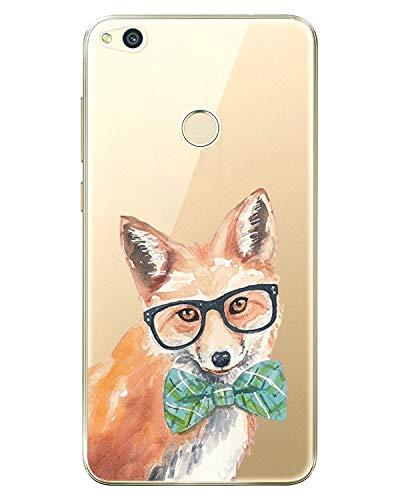Huawei P8 Lite 2017 Carcasa, Huawei P8 Lite 2017 Funda Simpática Diseño Cute Silicona Transparente Antideslizante, Suave Arañazos, Protección de TPU para Huawei P8 Lite 2017 Fox