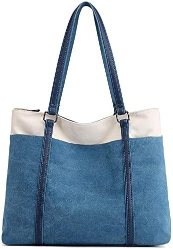 JANSBEN Borse Tote da Donna Grande Tela Borse a spalla per Shopping Scuola Viaggio (blue)