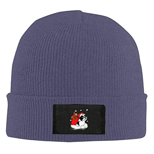 Drunce Christmas Santa Boston Terrier Knit Beanies Hat for Women Men Soft Watch Cap