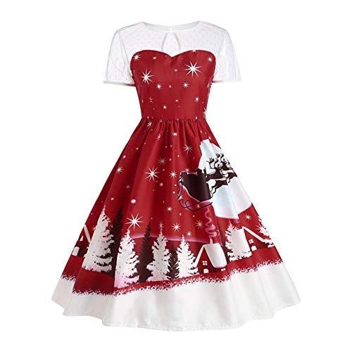 YWLINK Damen Eine Linie Jahrgang Weihnachten Druckt Spitze Kurzarm Swing Kleid Rockabilly UnregelmäßIg Faltenrock(XL,Weinrot)