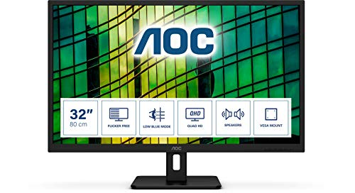 AOC Q32E2N 80 cm (32 Zoll) Monitor (HDMI, DisplayPort, 4ms Reaktionszeit, 2560x1440, 75 Hz, FreeSync) schwarz