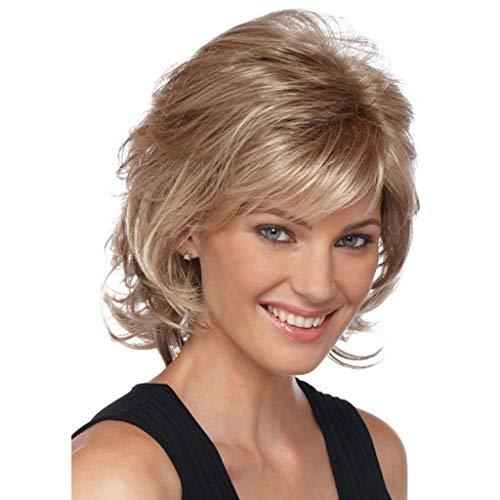 FH JIAFA - Perücke, Frauen Echthaar Mode Äußeres gekräuseltes flaumiges kurzes lockiges Haar Damen-Qualitäts-Perücke