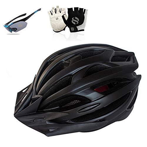 HVW Cascos de Bicicletas, Casco de Ciclismo con Gafas a Prueba de Viento Guantes y luz Trasera LED Casco de Bicicleta Transpirable cómodo para Hombres y Mujeres,A