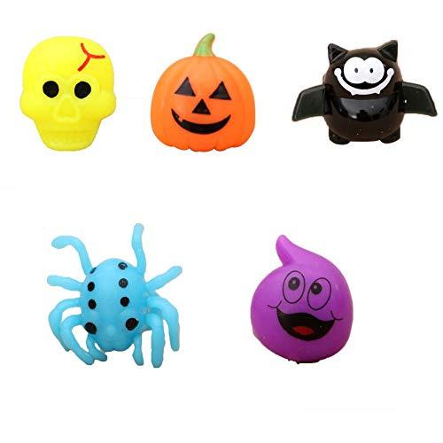 Dravem Juego de 5 anillos de Halloween con luces LED parpadeantes para fiestas, con calabaza, murciélago, araña, fantasmas, esqueleto, temas de Halloween
