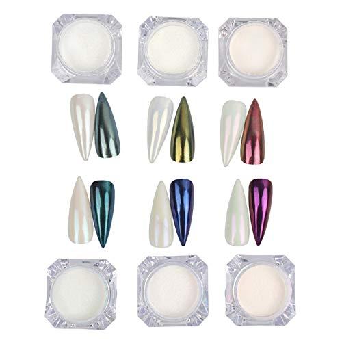 BISHENGYF 6 Colores Aurora Polvo de Uñas Polvo de Unicornio Polvo de Uñas de Sirena Polvo de Concha de Perlas con Más Transparente Holográfico Arcoíris Efecto Aurora Decoración de Arte de Uñas DIY