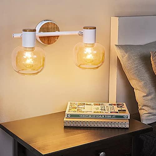 EDISLIVE Lámpara de pared de cristal, 2 luces de pared