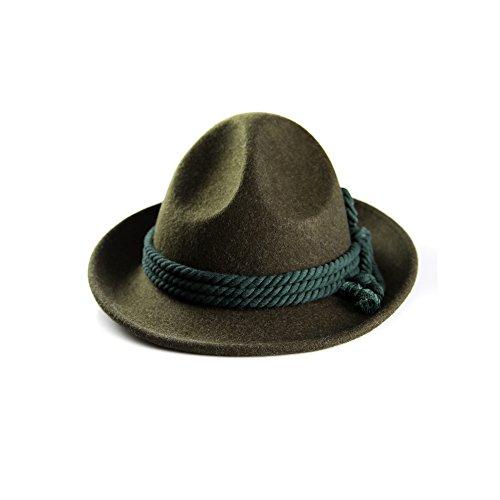 ALMBOCK Trachtenhut Herren grün dunkelgrün H6 - Traditioneller Trachten Hut für Oktoberfest Wiesn Wasn Party in grün und den Größen M L XL - Hirtenhut in 57 59 61 cm
