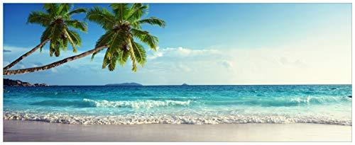 Wallario selbstklebendes XXL Poster - Sandstrand auf den Seychellen - Urlaub unter Palmen in Premiumqualität, Größe: 80 x 200 cm