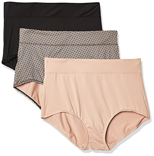 Warner's Women's Blissful Benefits No Muffin Top 3 Pack Brief Panty, Black/Toasted Almond/lace dot Print, XL
