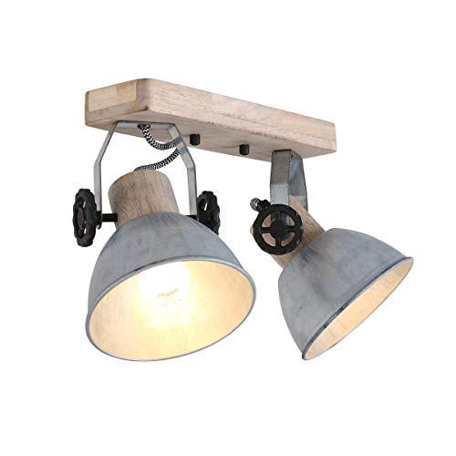 Deckenleuchte 2er Spot Steinhauer 7969NI Wandlampe Vintage E27 Rustikal Holz Metall Strahler NEUHEIT 2020 Nickel gewischt