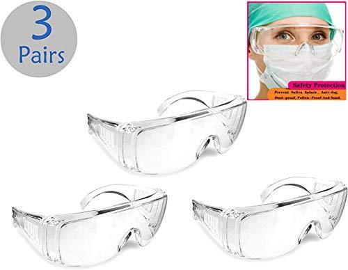 保護メガネ 3個セット 飛沫カット 防塵ゴーグル 軽量 透明 防風ゴーグル めがね併用可 花粉 風 砂 埃 破片対応 アウトドア作業用