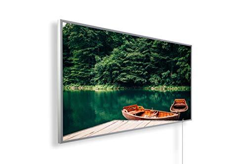 Könighaus Infrarotheizung – Bildmotiv – 1200 Watt + Smart Thermostat + Könighaus APP - Weißer Rahmen (04. Boot und See)