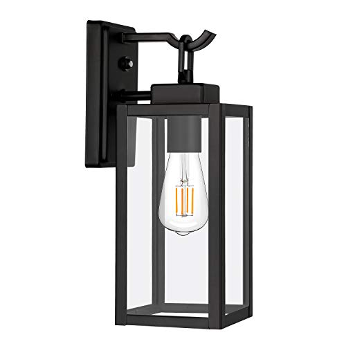 Dusk to Dawn Sensor Outdoor Wall Lantern, Exterior Wall Sconce Fixture with LED Bulb, Wall Mount Lights Anti-Rust Waterproof Wall Lamp with Clear Glass Shade for Entryway, Porch, Doorway, ETL Listed