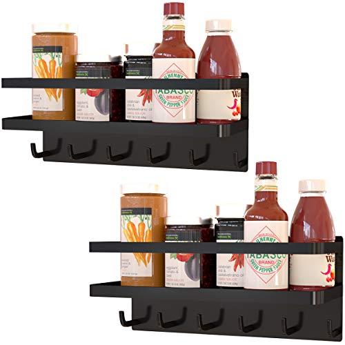 2 Pack Magnetic Shelf With 6 Hooks For Refrigerator,Spice Rack Storage For Fridge,Magnetic Shelves for Kitchen Organizer (Black)
