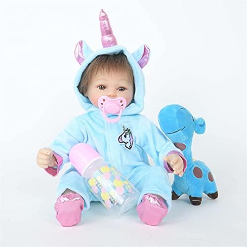 TTHB1 Reborn Baby Doll, 18 Pulgadas, bebé recién Nacido, con Ropa de Unicornio Azul, Vinilo táctil Suave, Cuerpo ponderado, Conjunto de muñecas de bebé renacido de 5 Piezas