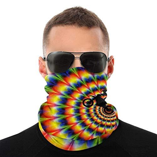 Personalizado Hippy Tie Dyed Radial Pattern Face Scarf Neck Gaiter Tube Magic Head Scarf, Multifuncional Bandanas Balaclava Anti Dust