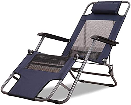 Gartenstuhl, Lounge Chair, Nap Chair, Sommer Tragbare Lounge Chair, Strandkorb, Einfache Lounge Chair, Home Office, Nap (dunkelblau) (Größe   178 x 53 x 38 cm)
