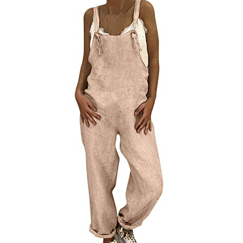 OSYARD Damen Jumpsuit Latzhose, Baumwolle Leinen Frauen Retro Sommerhose Playsuit Lässig Baggy Einteiler Hose Overall Romper Lange Trousers Harem Pants Spielanzug
