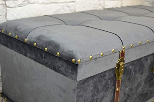 Livitat® Hocker Polsterhocker Suitcase Pouf Truhe Staufach Truhenbank Sitzbank Ottomane LV2084 - 3