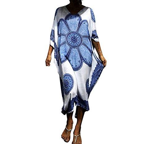 FSMO Damen-Kimono, übergroß, Maxi, Ethno-Print, Bikini-Überwurf, Strand, Kaftan-Kleid Gr. OneSize