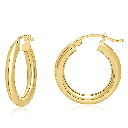 14K Yellow Gold Rounded Hoops