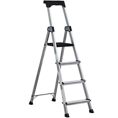 Mobech - Escalera de 3 + 1 peldaños, escalera de aluminio, carga máxima 150 kg, escalones de 10 cm de ancho, antideslizante, plegable con bandeja de herramientas, cumple con la norma EN 131-1-2-3-4-7