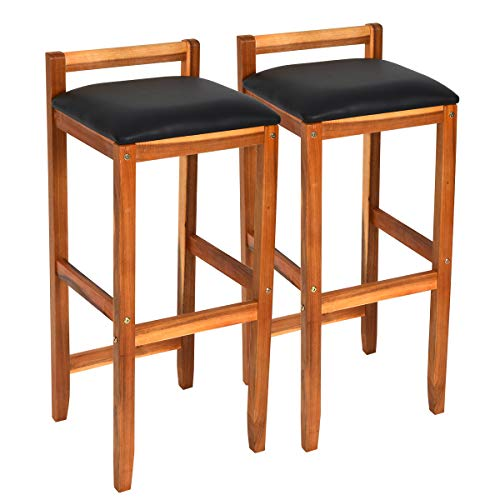 COSTWAY Set of 2 Solid Wood Bar Stool, Counter Height Stool, Acacia Bar Chair Set, with Foot Brace Bar, Protective Backrest, Stable Legs, Ideal for Kitchen, Café, Restaurant, Bar and Hotel