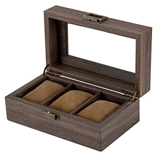 ACMHNC Estuche para Relojes con 3 Compartimentos, Caja de Relojes de Piel de PU, Vintage Organizador de Relojes con Tapa de Cristal y Almohada