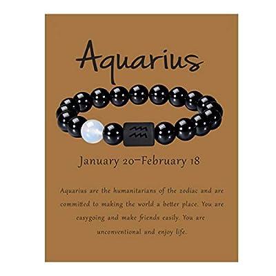 VLINRAS Zodiac Aquarius Bracelet for Men Women Aquarius Gifts Natural Black Onyx Stone Zodiac Charm Bracelet Constellation Horoscope Jewelry