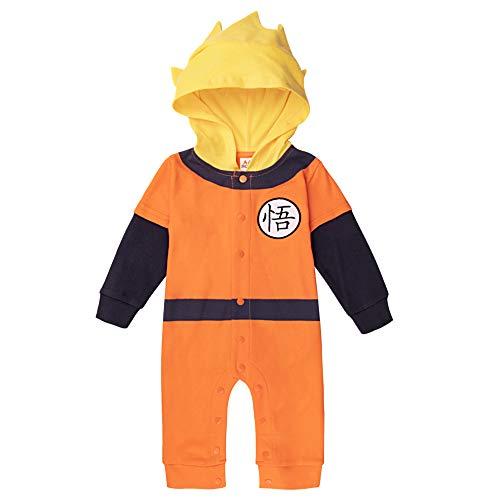 Sibaway - Body para bebé manga Super Hero | Pijama para niño | Disfraz de dragón Ball | Disfraz original y rígido | 100% algodón
