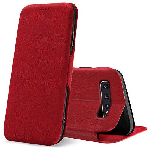 Verco Handyhülle für Samsung S10, Bookstyle Premium Handy Flip Cover für Samsung Galaxy S10 Hülle [integr. Magnet] Book Case PU Leder Tasche, Rot